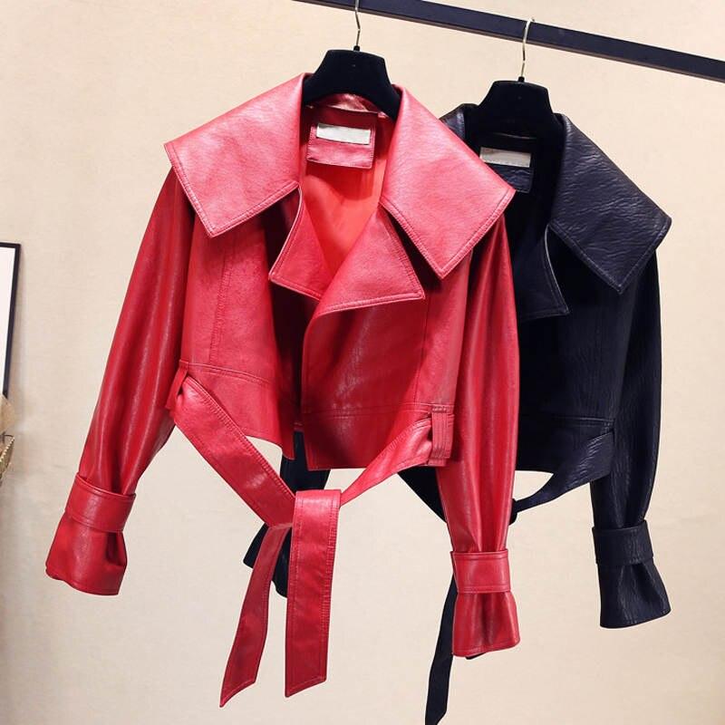 Red Black   Leather   Jacket Women Autumn New Lace Up PU Faux   Leather   Jackets Women Lapel Streetwear Biker Jacket Short Coat C5912