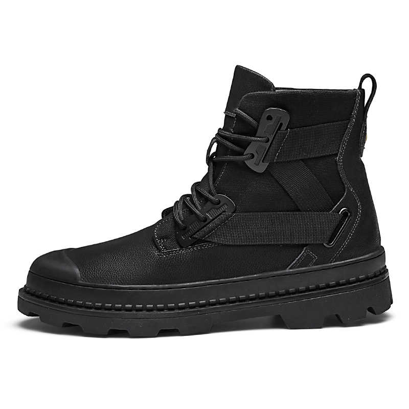 Men's Genuine Leather Boots Men Casual Design Ankle Boots Top Quality Work Boots Classic Black Footwear Big Size 38~47