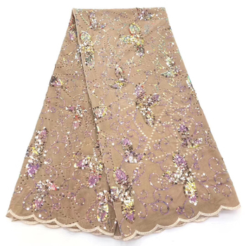 2020 Swiss Voile Lace In Switzerland High Quality Embroidery Africa Lace Fabric Fashion French Sequins Lace Tulle Fabric LCD9529