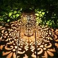 Retro Garden Solar Lamp Metal Hollow Projection Hanging Lantern Outdoor Lighting Waterproof Landscape Light