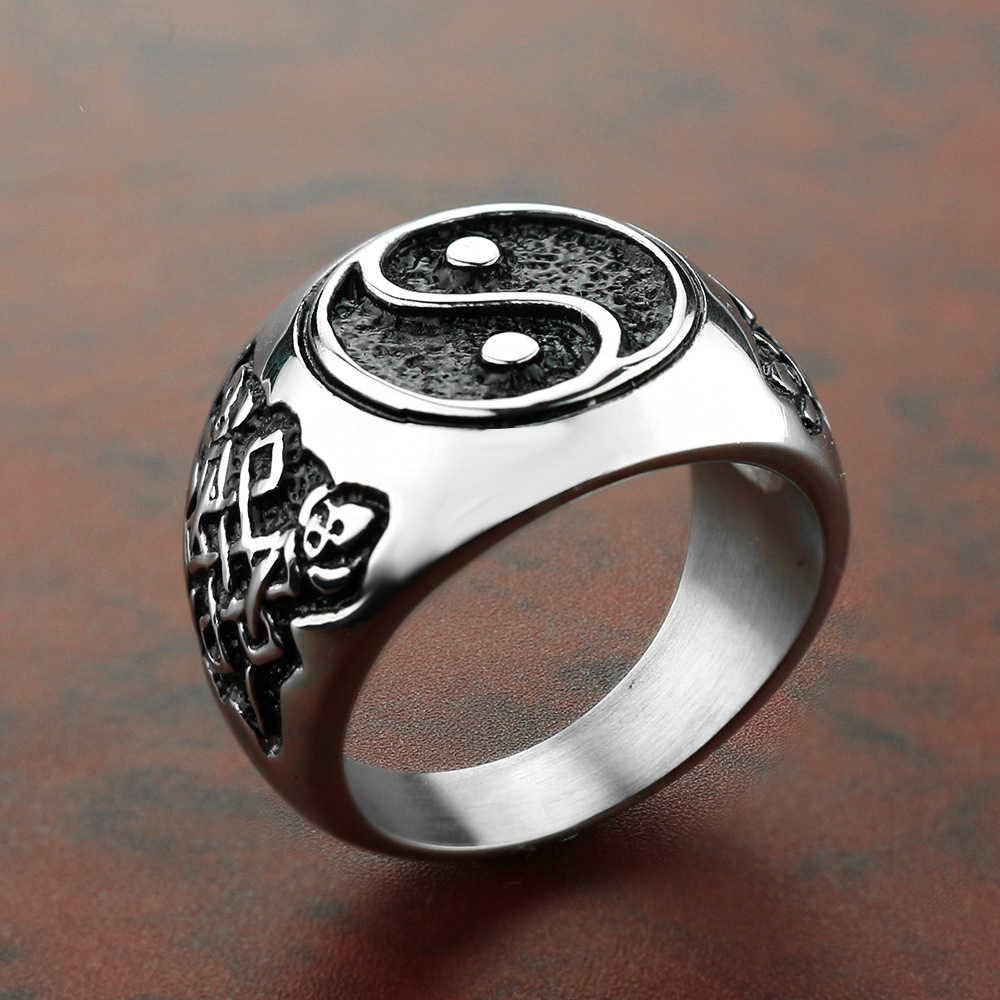 YingYang خواتم رجالية خاتم خاتم رجالي كلاسيكي من التيتانيوم المقاوم للصدأ الشرير الصخرة الهيب هوب السائق الفرقة القوطية فايكنغ DCR080