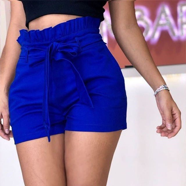5XL Plus Size Women's High Waist Shorts Pure Color Loose Casual Shorts Feamle 2021 New Summer Streetwear Shorts For Women Ladies 4