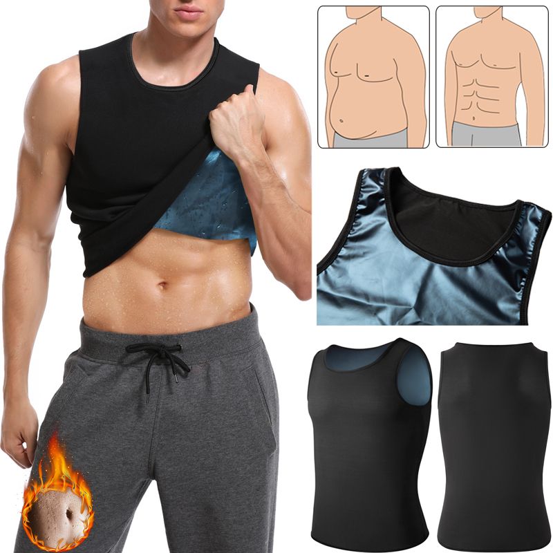 Men Shapers Abdomen Slimming Body Shaper Waist Trainer Polymer Workout Tank Top Weight Loss Shapewear Sauna Sweat Vest Corset