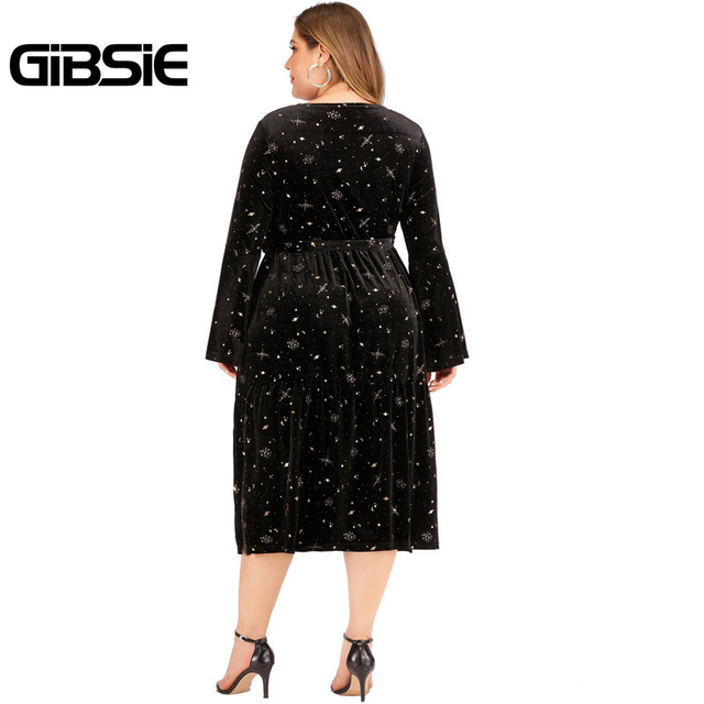 GIBSIE Autumn winter V-neck Print Velvet Dress Women Plus Size High Waist Long Sleeve Belt Midi Dresses Ladies Vintage Black 2