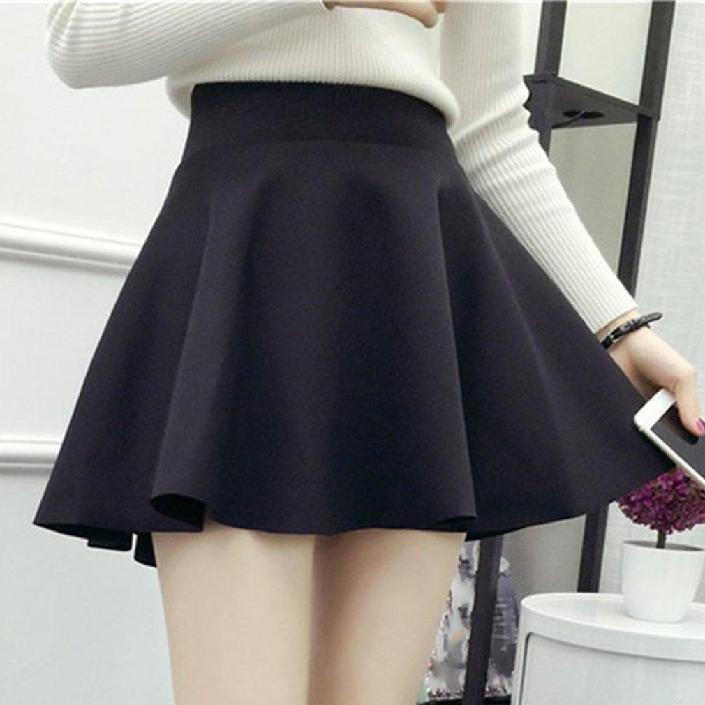 Korean High-waisted Solid Color Female Mini Pleated Skirt Stretch Large Swing Skirt Women Girls Above-knee Length Bottoms Hot