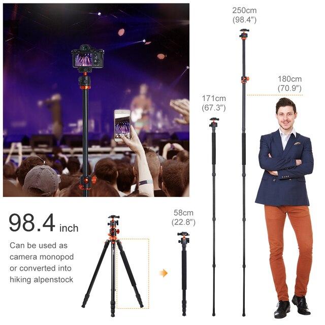 K&F Concept SA254T1 93 Inch  Camera Tripod 4 Section Aluminium Detachable Tripod with 360 Degree Ball Head Quick Release Plate