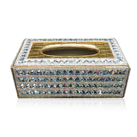 Luxury Diarmond Car Tissue Box Gold Black Bling Rhinestone Paper Towels Cover Case for Home Office Car Use