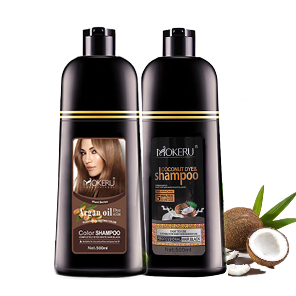 Mokeru 2pcs/lot Natural Long Lasting Cover White Hair Dye Argan oil and Coconut oil essence hair color dye shampoo for women