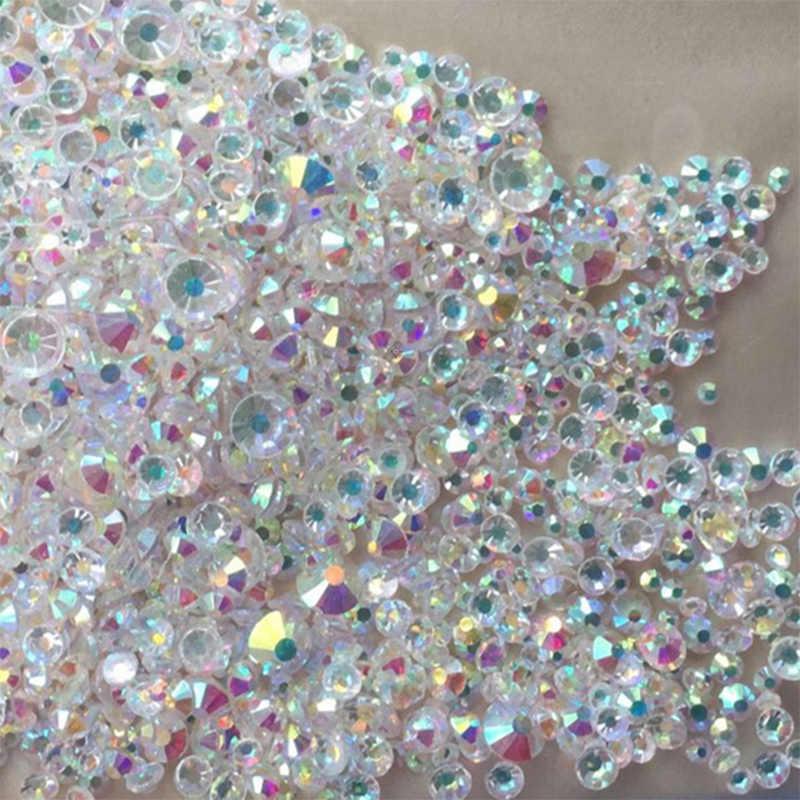 Diamantes de imitación de alta calidad con parte posterior plana para uñas decoración artística de uñas 3D AB blanco brillantes piedras manicura decoraciones gemas diamantes
