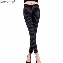 YSDNCHI Fitness Leggings Women Stripe Print Black Sexy Pants Fashion Gym Elastic High Waist Plus Size Trousers