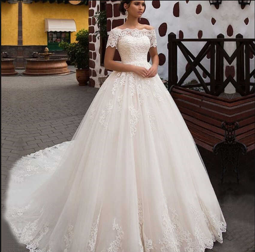 2019 הגעה לניו כבויה כתף כדור שמלת חתונת שמלה לבן תחרה אפליקציות נסיכה נפוחה ארוך הכלה שמלות מכירה לוהטת 2019