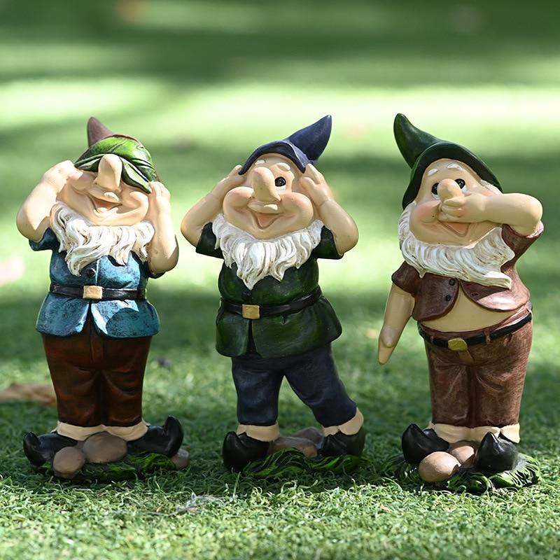 Cartoon Dwarfs Art Sculpture Dwarfs Figurine Figure Statue Resin Craft Creative Outdoor Courtyard Garden Decoration R5141