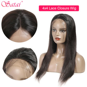 Image 3 - Satai Brazilian Straight 4x4 lace closure Human Hair Wigs Pre Plucked Hairline with Baby Hair Remy Lace Closure Wig