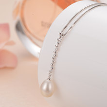Gn pérola natural de água doce pérola pingentes colar genuien 925 prata esterlina 8-9mm correntes jóias gnpearl para mulher