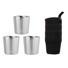 Portable Mug Double Layer Stainless Steel Camping Hiking Coffee Tea Cup Sets for Household Kitchen Helping Decor