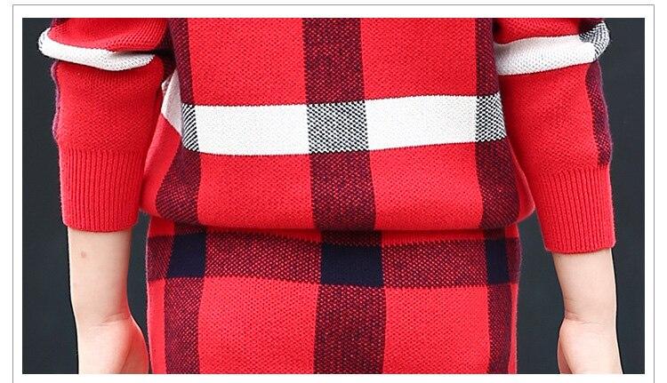 5 ~ 11T adolescents filles printemps automne tenues vêtements pour adolescente fille grille hauts jupe vêtements ensemble formel Boutique Plaid vêtements - 6