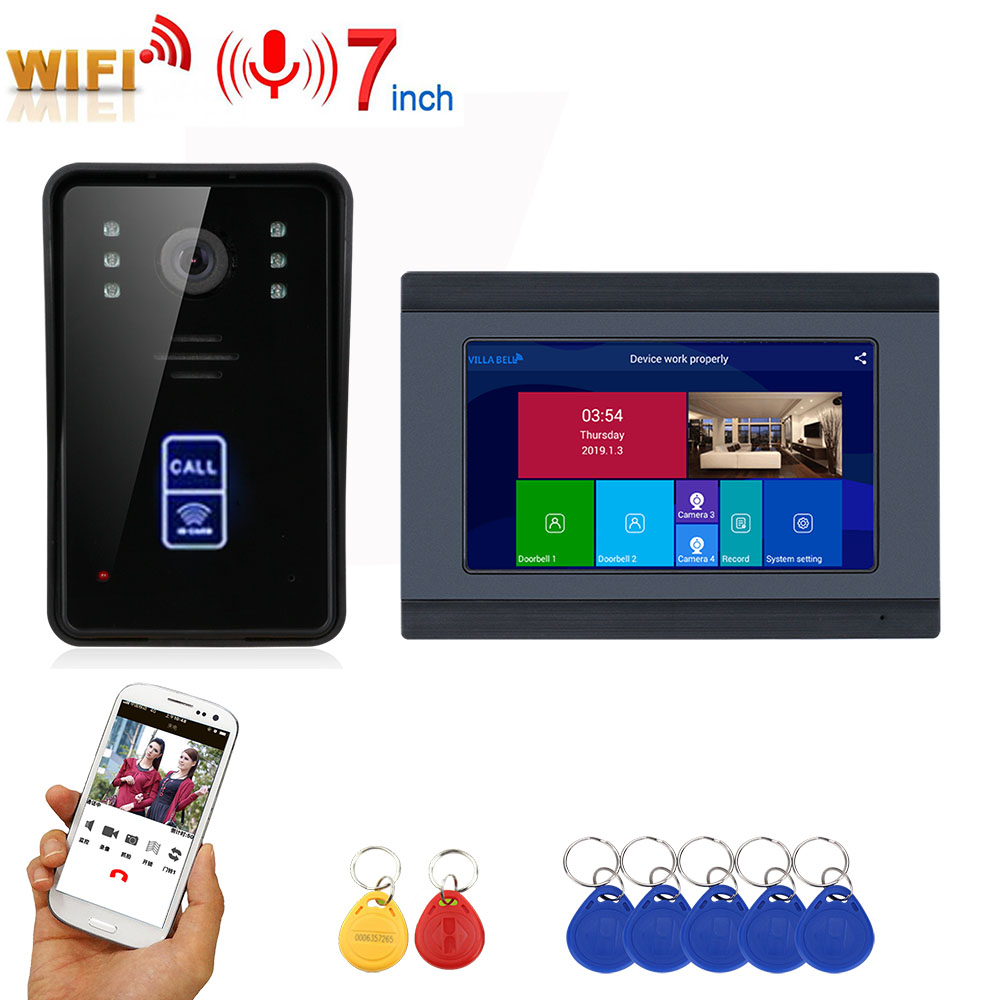 7inch Record Wireless Wifi RFID Video Door Phone Doorbell Intercom Entry System With IR-CUT 1080P Wired Camera Night Vision
