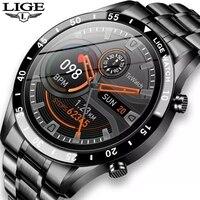 LIGE 2021 Volle kreis touchscreen stahl Band luxus Bluetooth anruf Männer smart watch wasserdicht Sport Aktivität Fitness uhr + box