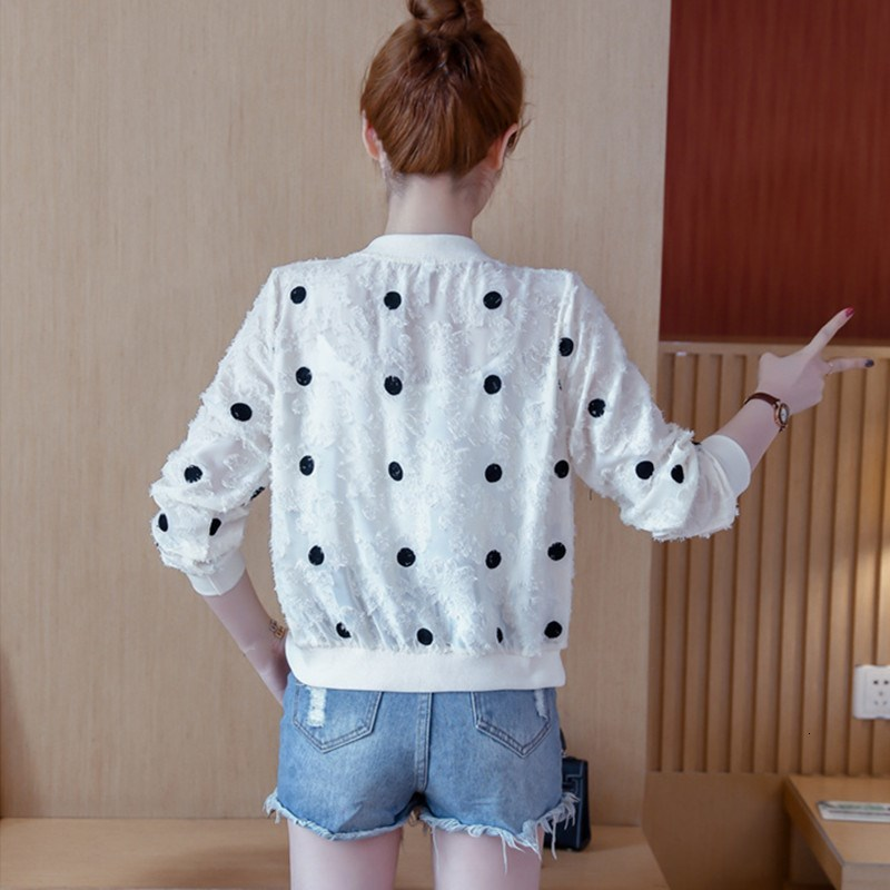 2019 Korean Slim Baseball Short Jacket Summer Casual White Thin Women's Bomber Jacket Polka Dot Dot Sunscreen Cardigan Jacket 25