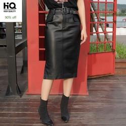 Slim Fit Sashes Knee Length Womens Genuine Leather Wrap Skirts Spring Autumn New Fashion Straight Sheepskin Skirts Plus Size 4XL