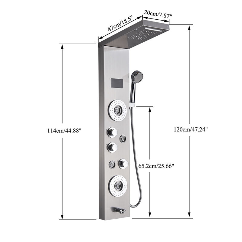 Newly-Luxury-Black-Brushed-Bathroom-Shower-Faucet-LED-Shower-Panel-Column-Bathtub-Mixer-Tap-With-Hand (4)