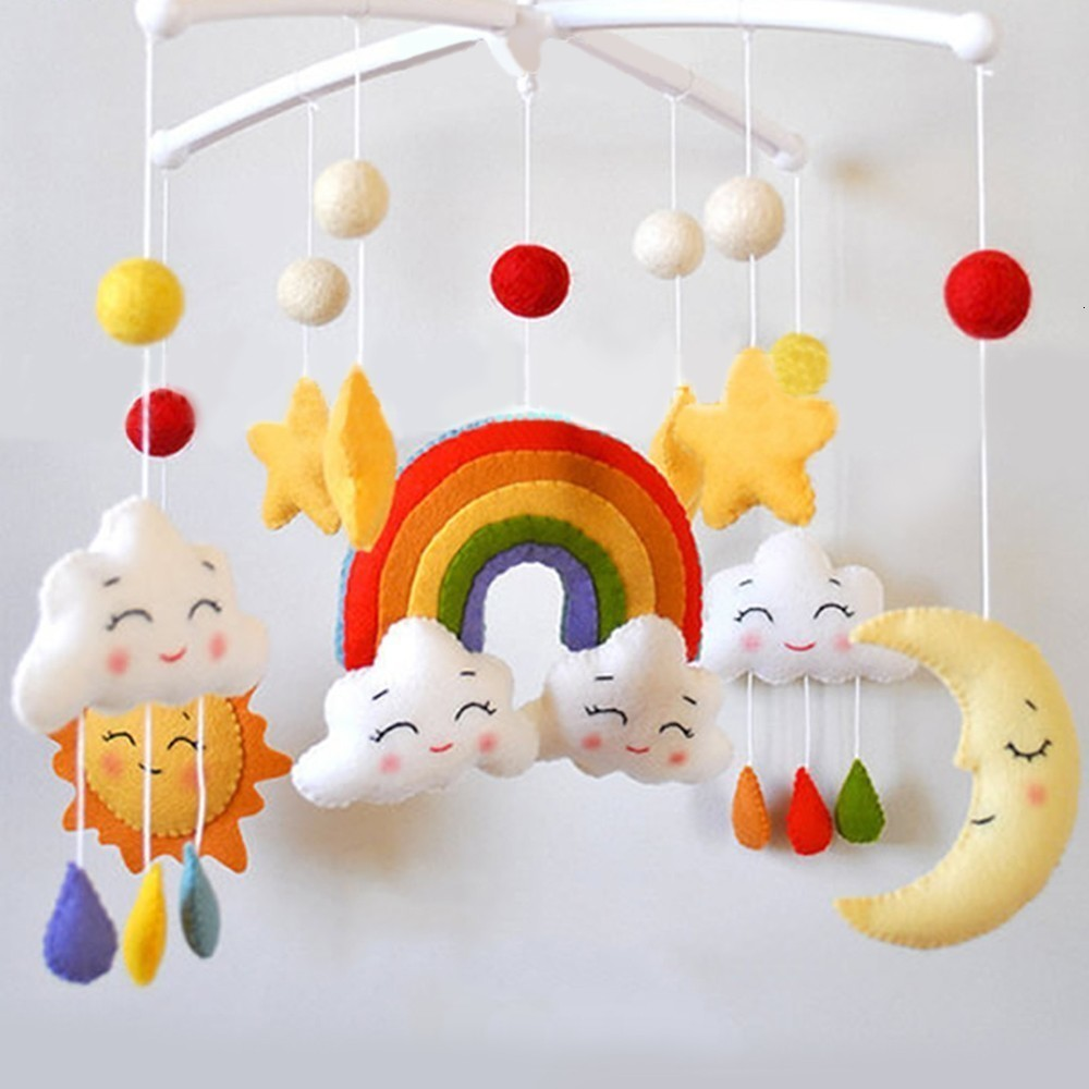 Pregnant Woman Handmade Baby Rattle Toy Cartoon Baby Crib Holder Rattles Bracket Clockwork Music DIY Bed Bell Material Package