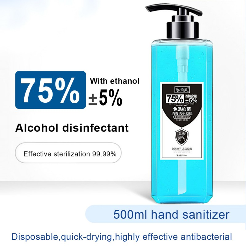 500ML Portable Disinfection Hand Sanitizer 75% Alcohol Disposable Antibacterial Disinfectant Quick-drying No Wash Gel