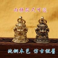 Otomobiller ve Motosikletler'ten Araba için Anahtar Kılıfı'de Fine Copper Three Lions Bell Car Rear View Mirror Pendant Chinese style Brass Think Twice Bell Keychain Amulet Pendant