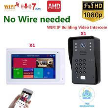 Kablosuz WIFI görüntülü kapı telefonu kapı zili IP interkom sistemi 1080P AHD kamera desteği şifre, 500 yüz tanıma kilidini