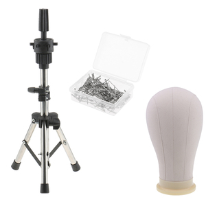 22' Cork Canvas Block Head Mannequin W/ Stand & T Pins For Wig Making Sewing