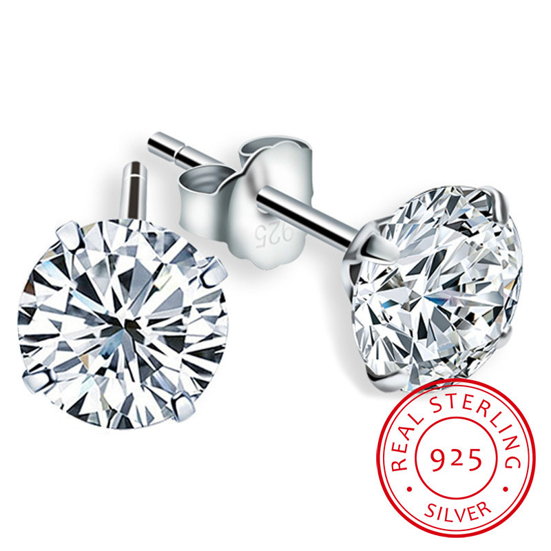 LEKANI Crystal From Swarovski Fashion Genuine 925 Sterling Silver Stud Earrings For Women Wedding Fine Jewelry Gift