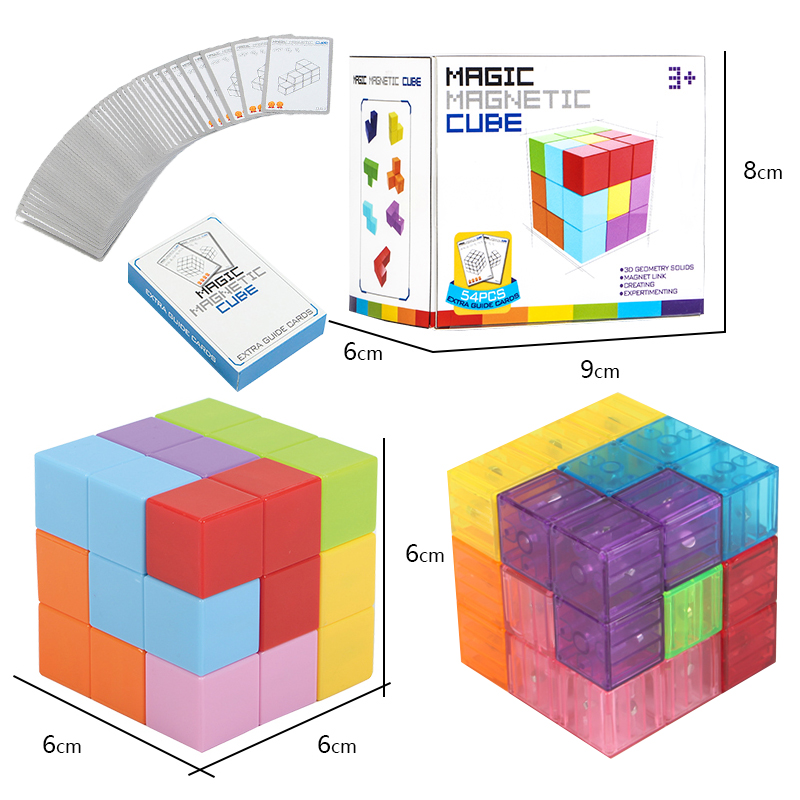 Cube Magnet Magnetic Cubes Toys 3x3x3 Cubo Puzzle Educational Toys Multiple Shapes Cube Christmas Birthday Gifts