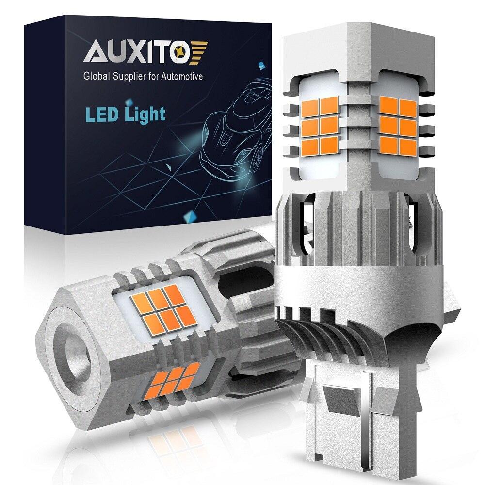 AUXITO 2 шт. без Hyper Flash T20 W21W WY21W 7440 7440NA светодиодный светильник для указателей поворота, Лампы Canbus, без ошибок, автомобильная лампа Янтарный