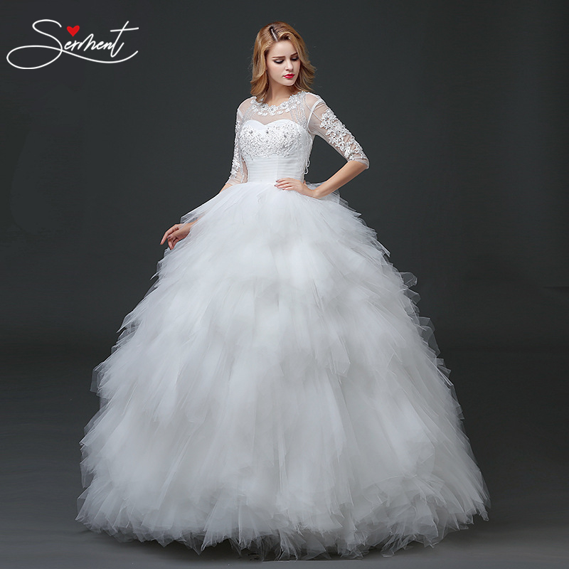 SERMENT Simple Tassel Wedding Dress Three Quarter Lace Floor-lenght Ball Gown Lace Up Off The Shoulder Empire Design
