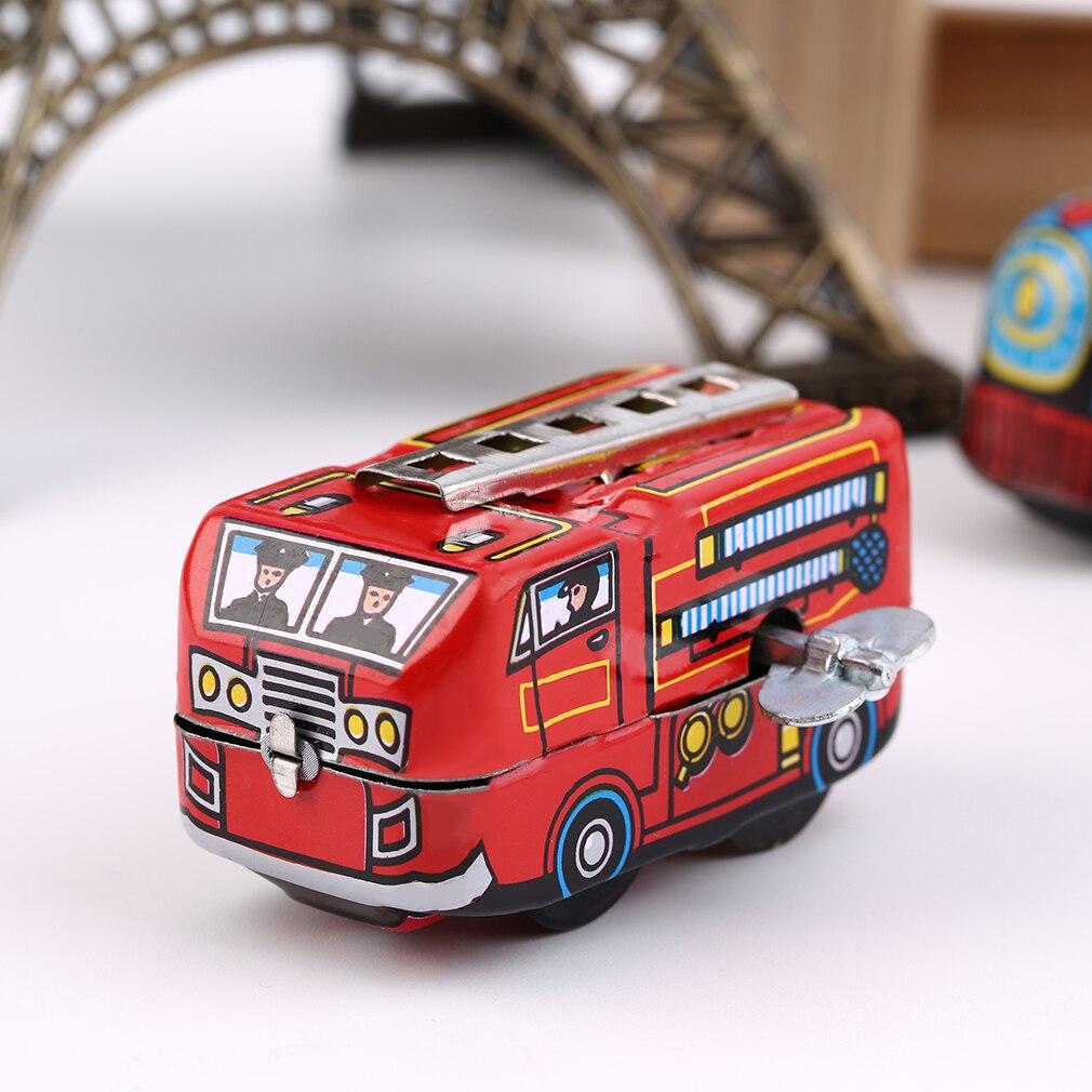 Retro Classic Firefighter Fire Engine Truck Clockwork Wind Up Tin Toys New