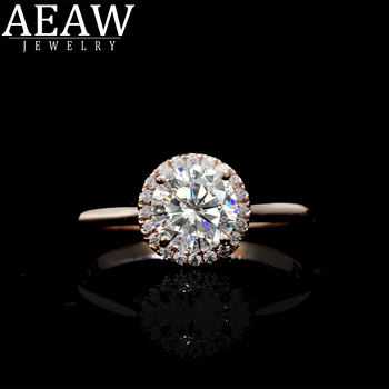 AEAW 1 Carat 10k 14k 18k White Gold Moissanite Ring Wedding/Engagement Rings For Women Silver Color Women's Ring Jewelry image