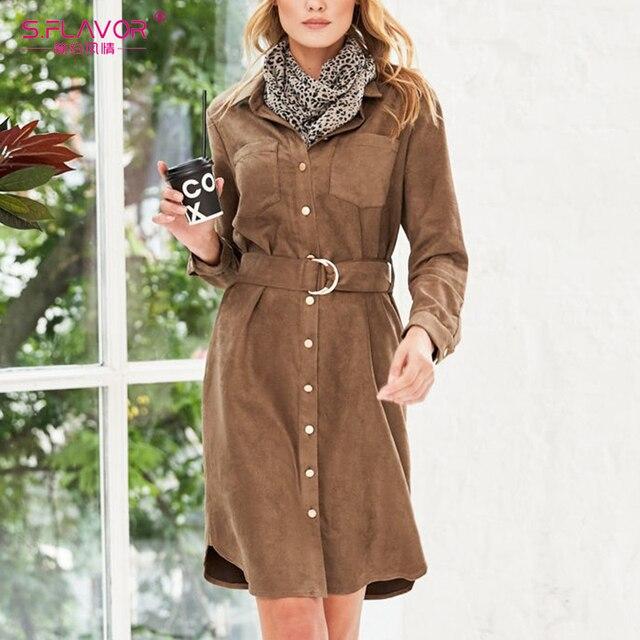 S.FLAVOR 가을 겨울 여성 스웨이드 셔츠 드레스 빈티지 긴 소매 사무 작업 드레스 우아한 여성 솔리드 무릎 길이 드레스