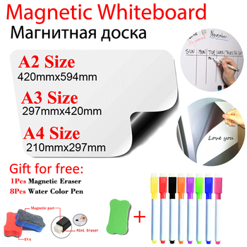 Arc Angle Magnetic WhiteBoard Fridge Stickers Dry Erase Calendar Kids School Board Memo White Board Gift 8 Color Pen 1 Erasser