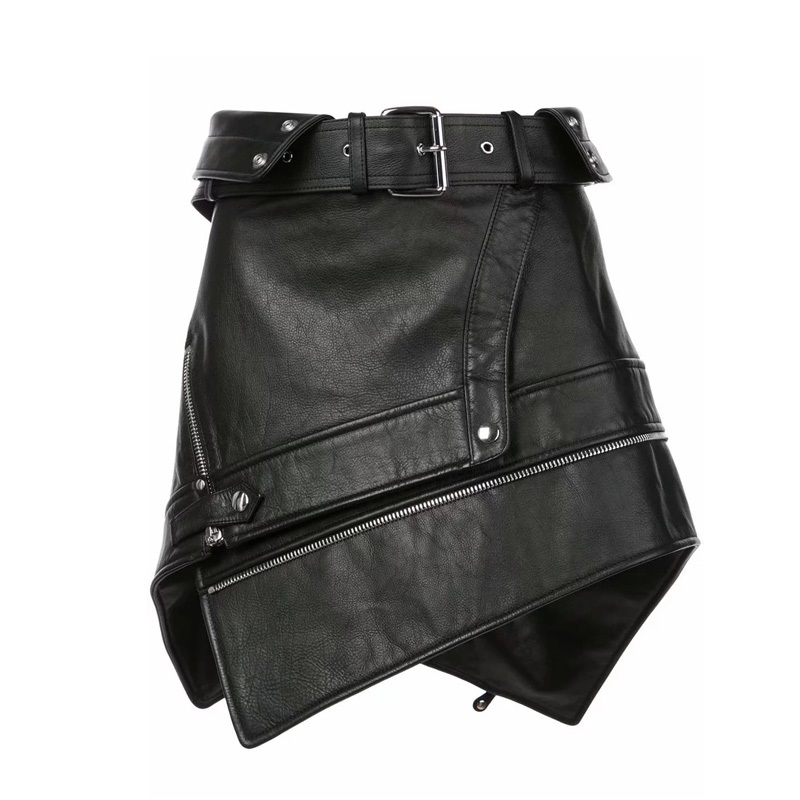 Sexy Asymmetry Fur Leather Skirts Womens Zipper Punk Rock Belt Mini Skirt Streetwear  Black High Waist Skirts 2019 Faldas Mujer