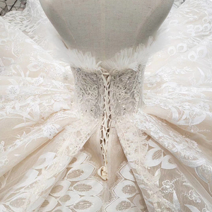 Image 5 - BGW HT5620 Suknie Slubne Luxury Sexy Strapless Wedding Dresses Lace Champagne Appliques Ball Gown Wedding Gown With Wedding Veil