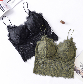 Womens Tanks Lace Fine Shoulder Strap Tube Top Beauty Back Underwear Push Up Bra With Chest Pad Camisole - discount item  35% OFF Women's Intimates