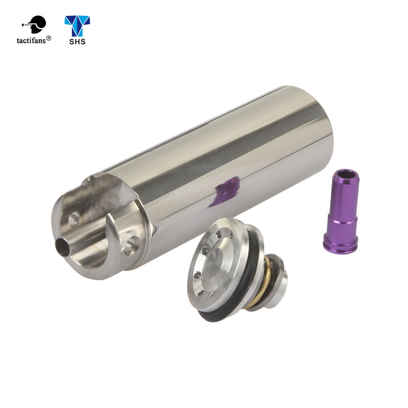 SHS Tune Up Kit Stainless Steel CNC Milled One-Piece Solid Cylinder Built-in Cylinder Head Piston Head Nozzle Airsoft Paintball