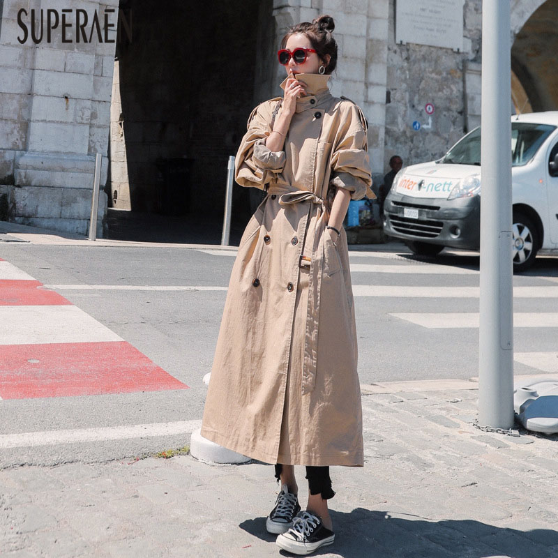 SuperAen Autumn New Korean Style   Trench   Coat for Women Wild Causal 2019 Double-breasted Women Clothing Fashion Windbreaker