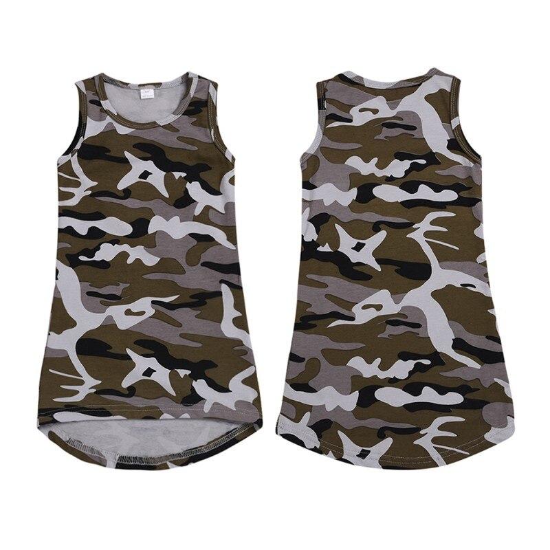 Impressão 1 6T O pescoço de Algodão Padrão de Camuflagem Impressão T shirt Sem Mangas Colete Vestido de Verão Casuais Meninas Do Bebê Crianças Criança vestido de verão - 4