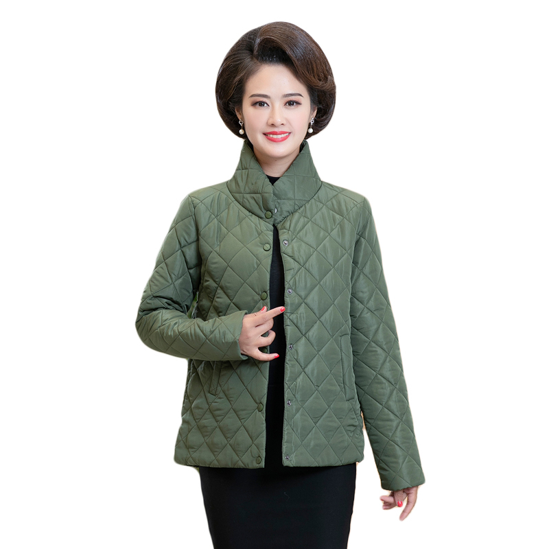 Parkas Women Thin Quilted Jacket Autumn Winter Warm Short Jacket New Middle Age Female Cotton-padded Tops Mother Cotton Coat