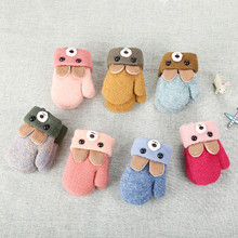 Baby Gloves Winter Kids Toddler Toddler Baby Girls Boys Bear Ears Patchwork Keep Warm Mittens Gloves baby mittens варежки tanie tanio ONTO-MATO COTTON Knitting Warm Christmas Fluffy Hood Scarf Hat Snood Pocket Hats Gloves Ears About Suit for 2-4 Years kids