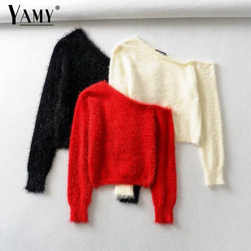 Cute Sweater Korean Pullover Women Knitted Sweater Off Shoulder Kawaii One Shoulder Sweater Women Fluffy Sweaters Fall 2019