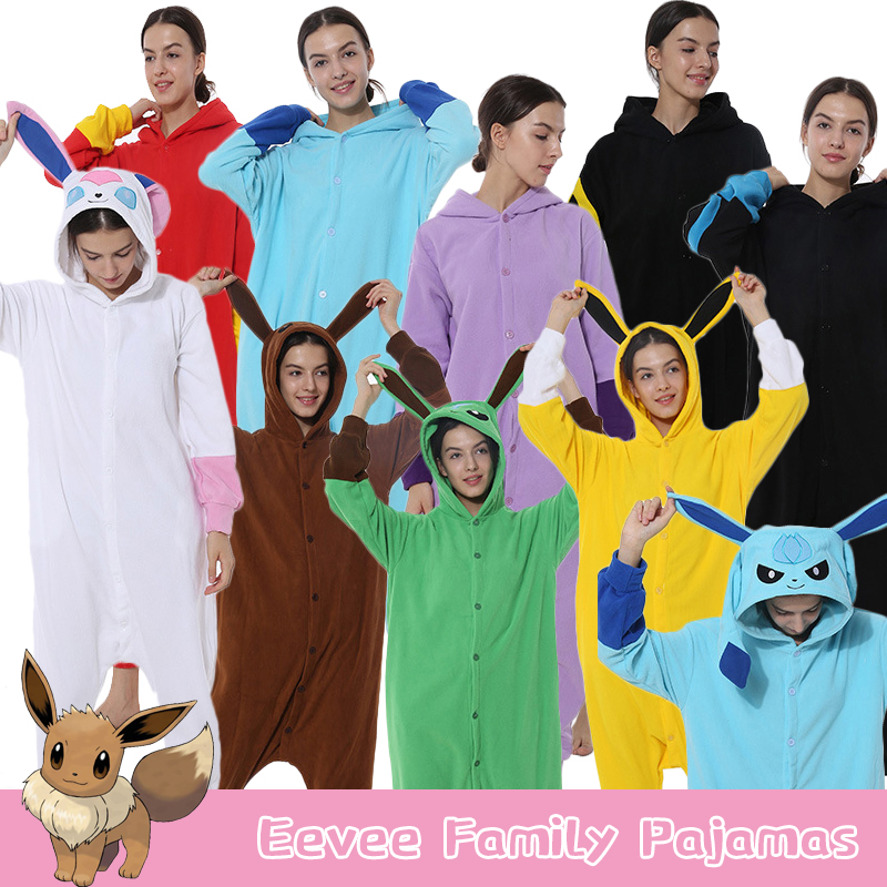 Anime Pokemon Eevee Sylveon Cosplay Pajamas Homewear Daily Warm Sleepwear Unisex Onesies Fleece Jumpsuits For Adults S-XL