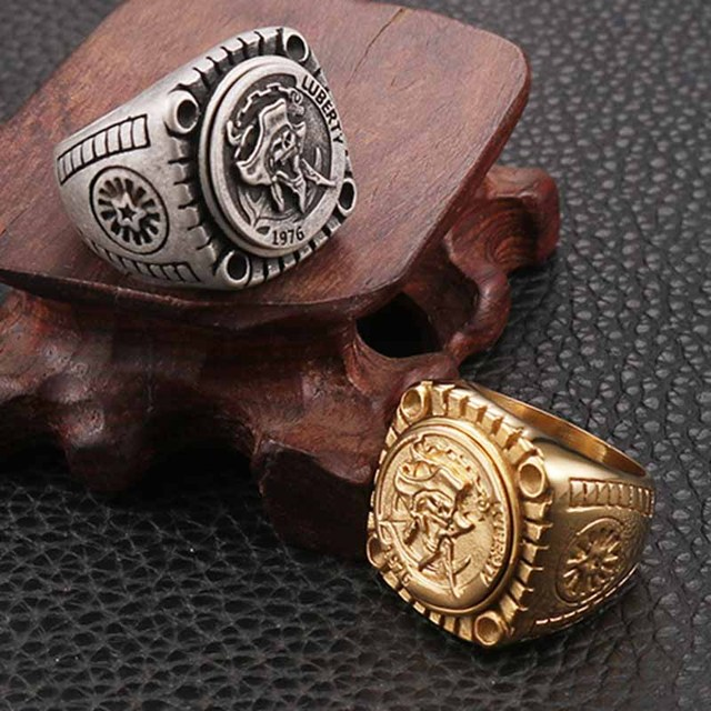 STAINLESS STEEL LIBERTY 1976 SKULL RINGS