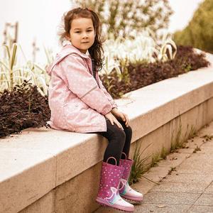 Image 5 - Детские резиновые сапоги KomForme для девочек, розовые резиновые сапоги в форме сердца, единорога, водонепроницаемая обувь для воды, резиновая обувь, детские сапоги для девочек